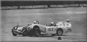 At SCCA Pomona Race, Ashley Shulter (163) spins & crashes into John Hooper's Sprite (95).