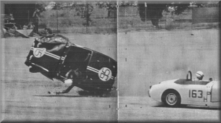 Car 95 begins sickening second flip with  Hooper helplessly hanging from seat belt, his arm dangling.