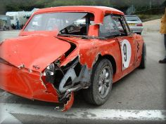 "Steve Waddington's car after a ""rare"" spin"